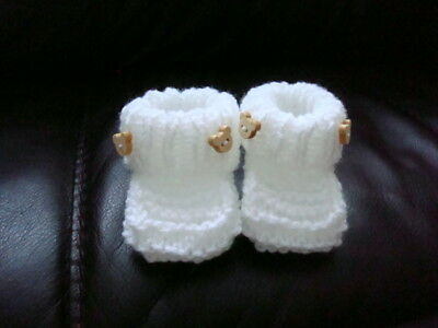 Hand Knitted Baby Booties Sole 3  0-3 Months • 2.99£