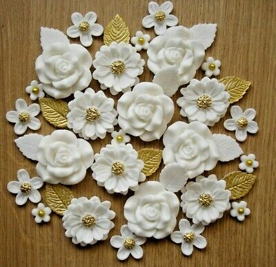 £8.25 • Buy WHITE,GOLD  ROSE BOUQUET Edible Sugar Paste Flowers Cupcake Decorations Toppers