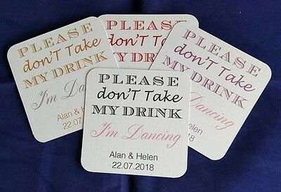 £12.50 • Buy 50 Personalised Wedding Coasters, Don't Take My Drink, Can Be 2 Colours Or One