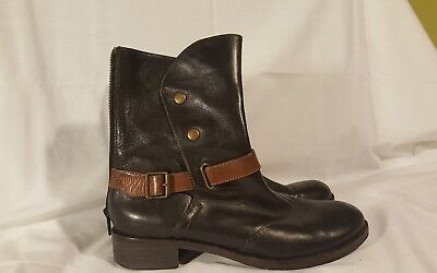 $30 • Buy Everybody By BZ MODA Women's Brown Leather Zip Wrap Strap Ankle Boots Sz. 5.5M