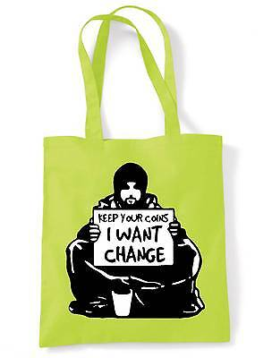 BANKSY KEEP YOUR COINS I WANT CHANGE SHOULDER  TOTE BAG - Colour Choice • 7.50£