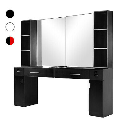 $530.53 • Buy BarberPub Wall Mount Barber Station Hair Styling With Mirror Table Set 3026+3036