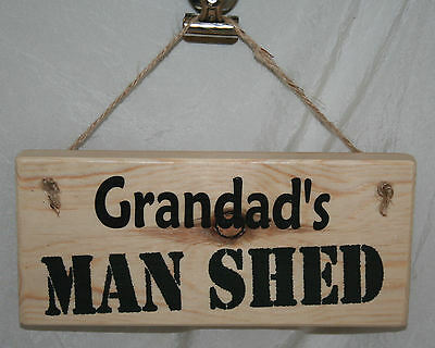 Grandad MAN SHED Allotment Sign Door Hanging Plaque Wood Cave Garage Home Office • 6.95£