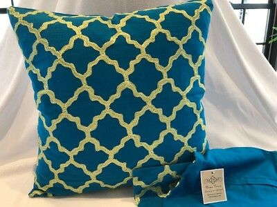 Pair Of New Peacock Blue 18 X 18  Pillow Covers • 17.47£