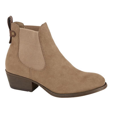 £14.50 • Buy WOMENS CHELSEA ANKLE BOOT LOW HEELED TAUPE WITH PULL ON TAB,  Sizes 4 - 8