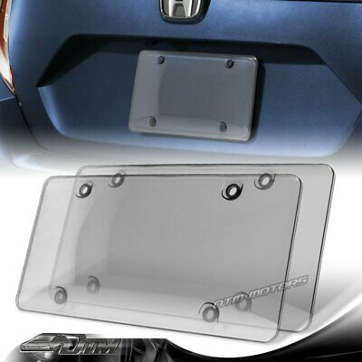 $7.99 • Buy 2pcs Tinted Clear/Smoke Protector License Plate Frame Shield Cover Front & Rear