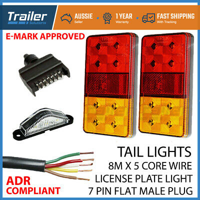 AU48.04 • Buy Trailer Light Kit, Led Trailer Lights, Plug, Number Plate Light, 8m 5core Wire