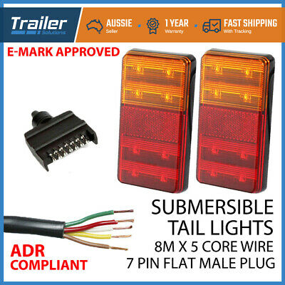 AU42.95 • Buy Pair Of Led Trailer Lights, Plug, 8m X 5 Core Wire Kit Complete Boat Light 12v