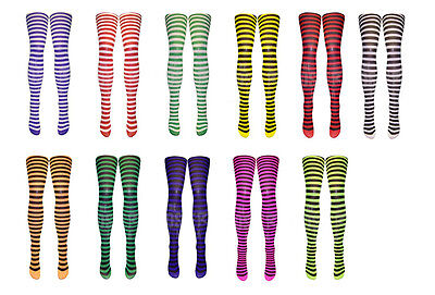 Missi London Neon And Coloured Striped Tights - Halloween Fancy Dress 80s Disco • 3.45£
