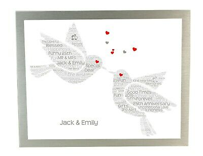Personalised Word Art Print 1st 10th 25th 30th 40th 50th 60th Anniversary Gifts • 6.50£