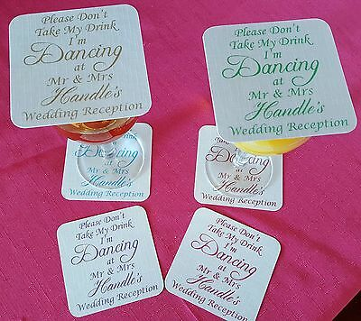 £14.99 • Buy 75 Wedding Coasters,  Don't Take My Drink, I'm Dancing  Any Colour Words
