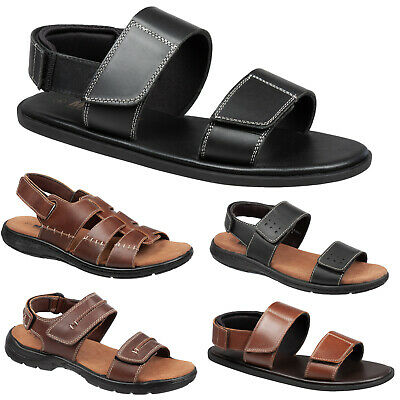 Mens Leather Hiking Gladiator Sandals Size 6 To 11 UK Black Or Brown By MIG • 15.95£