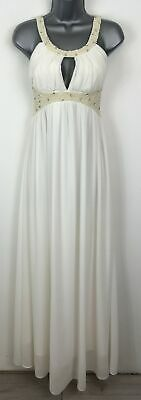 Bnwt Eva & Lola Cream Beaded Fitted Padded Bust Maxi Prom Occasion Dress Small • 22.49£