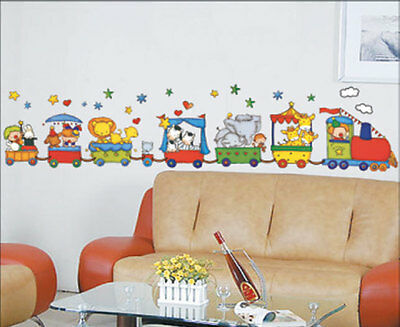 Train Cartoon Circus Animals Childrens Wall Stickers  Nursery Play Room H1222  • 9.99£