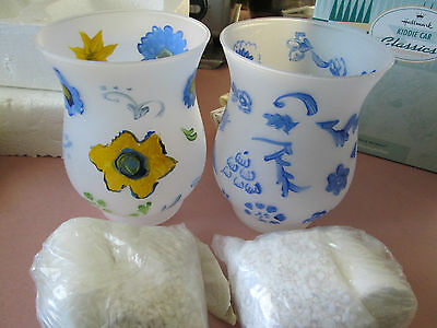 $5.95 • Buy Two (2) Frosted Flower Glass Vase's W/Floating Candles W/White Beads NEW!