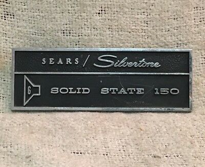 $ CDN86.62 • Buy Sears Silvertone 1465 Amp METAL LOGO BADGE ONLY RARE Solid State 150 6x10 Jensen