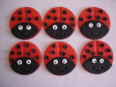 Ladybird Cupcake Toppers / Cake Decorations X 6 • 6.95£