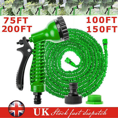 Expanding Garden Water Hose Spray Gun Expandable Flexible Magic Outdoor Hosepipe • 14.31£
