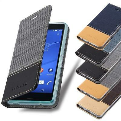 AU15.99 • Buy Wallet Case For Sony Xperia Book Cover Jeans Look Flip Etui Stand