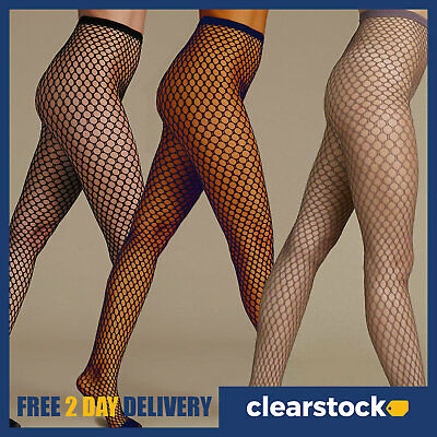 M&S Black Navy Taupe Ladies Womens Sexy Large Whale Fish Net Pattern Tights S-XL • 4.49£