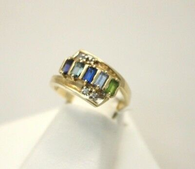 $145 • Buy Vintage 10k Mother Multi-Color Stone And Diamond Accent Ring 4.6g Size 8