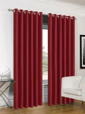 Red Curtains Eyelet Ring Top Faux Silk 54  Or 72  Drop CLEARANCE • 9.99£