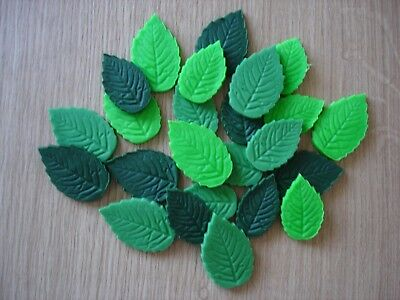 24 Mixed Green Leaves Edible Sugar Paste Flowers Cupcake Cake Decorations Roses • 4.25£