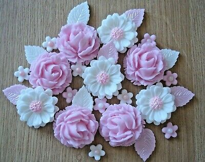 2 - PINK  ROSE BOUQUET Edible Sugar Paste Flowers Cup Cake Decorations Toppers • 7.20£