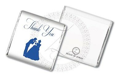 50 Personalised Royal Blue Fairytale Princess Wedding Party Favour Chocolates • 13£