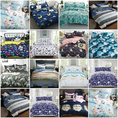 Soft Quilt Duvet Cover Bedding Set Bed Linen Single Double Super King All Sizes • 14.34£