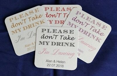 £12.50 • Buy Personalised Wedding Drinks Coasters, Don't Take My Drink, I'm Dancing, 2 Colour
