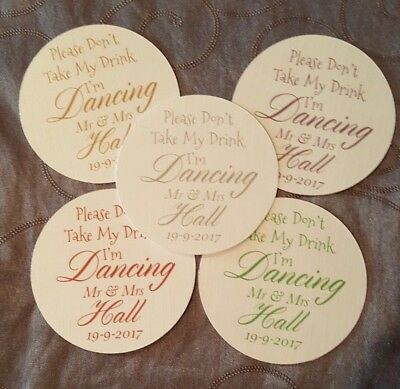 £22.99 • Buy 100 Personalised Round Wedding Coasters Don't Take My Drink, Any Colour Wording