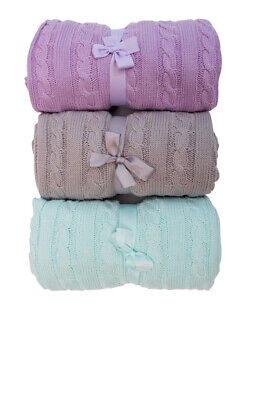 £15.99 • Buy Luxurious Cable Knit Baby Blanket,100% Cotton, Pram, Cot, Crib, Throw, Snuggle.