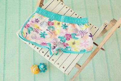 Girls Floral Swim Beach Shorts,contrast Edging & Waistband Age 6-13 Years • 7.99£
