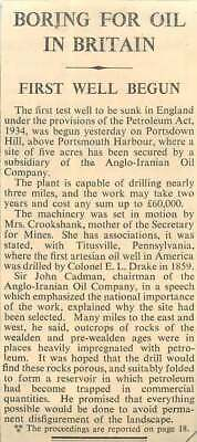 £5 • Buy 1936 First Test Oil Well  Portsdown Hill, Anglo Iranian Oil Company