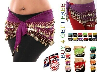 3 ROWS Belly Dance Costume Belt Skirt Hip Wrap Outfit Gold Coin Bead Scarf*BLY • 3.99£