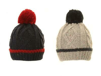 £6.99 • Buy Boys Bobble Hat Winter Warm Thick Knitted Speckled Beanie Large Pom Pom
