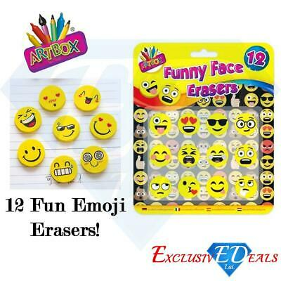12 Funny Face Novelty Emoji Erasers - Smiley Face Rubbers - Party Bag Fillers • 2.75£