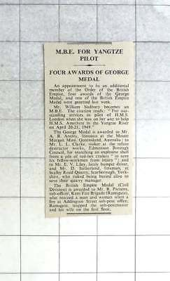 £5 • Buy 1950 Mbe For William Sudbury, George Medal For Mr Ab Anstey