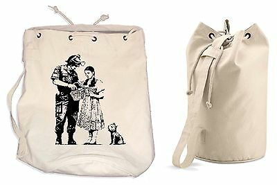 BANKSY STOP & SEARCH DUFFLE BAG College Rucksack Gym Beach Backpack Wizard Of Oz • 13.99£