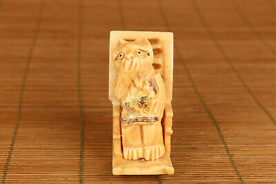 Chinese Old Hand Carved Cat Chair Statue Netsuke Collectsble • 56£
