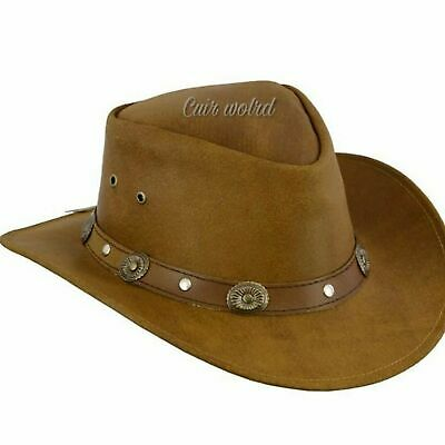 Australian Western Style Tan Bush Hat Leather Cowboy With Leather Band Concho  • 15.20£