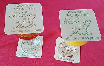 £7.99 • Buy 25 Personalised Wedding Coasters,  Don't Take My Drink, I'm Dancing  Any Colour