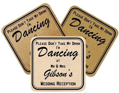 £21.99 • Buy 100 Vintage Wedding Coasters Don't Take My Drink I'm Dancing, Choice Of 3 Styles