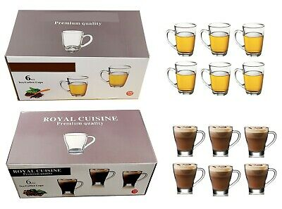 £12.99 • Buy Set Of 6 Latte Hot Chocolate Tea Coffee Clear Cup Glass Mugs With Handle