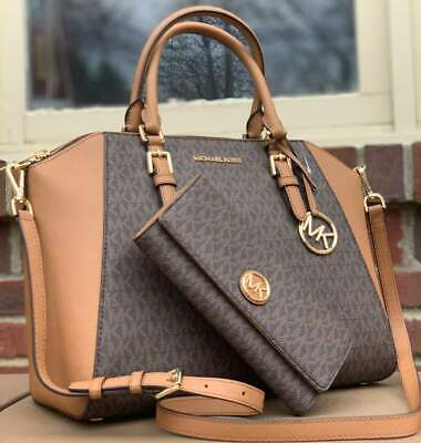cb268568cd1e Michael Kors CIARA Brown Signature TZ Large Bag Shoulder Tote Or Wallet Or  Set • 139.00