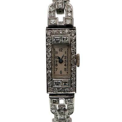 Ladies 1920's Art Deco Platinum With Diamonds Vintage Cocktail Watch • 1,995£