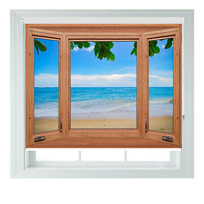 Brown Window BEACH Sea View Printed Photo Black Out Roller Blinds Various Sizes • 65£