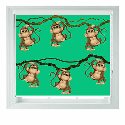 Monkeys Jungle Childrens Printed Photo Black Out Roller Blinds Made To Measure • 65£