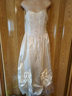 AU103.81 • Buy 80s Vintage Ivory Silk Lace Beaded NWT Wedding Prom Party Dress Gown Size 11/12